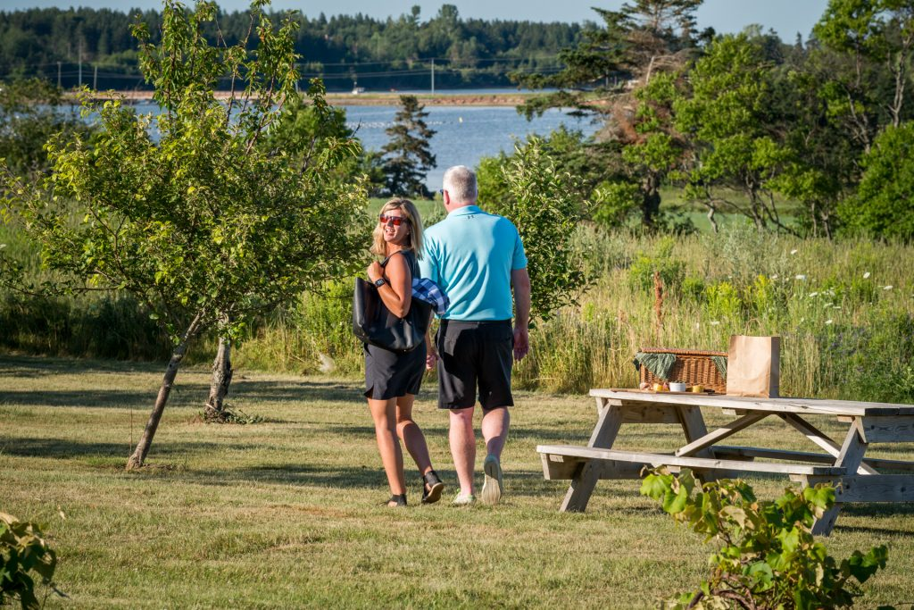 Couple walking, picnic and water view